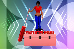 3d women whats in your inbox illustration Royalty Free Stock Images
