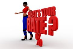 3d women whats your rate concept Royalty Free Stock Photo