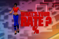 3d women whats your rate illustration Stock Photography