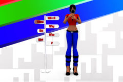 3d women which why who illustration Royalty Free Stock Photography
