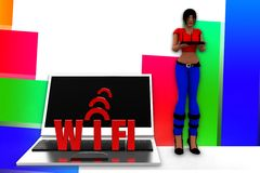 3d women wifi illustration Stock Photos