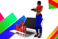 3d women wifi illustration Royalty Free Stock Photo