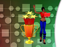 3d women win illustration Royalty Free Stock Photo