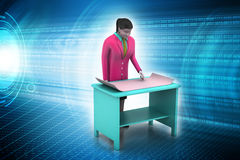3d women in work place Stock Photos