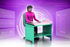 3d women in work place. In color background Stock Images