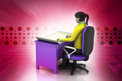 3d women in work place Stock Photography