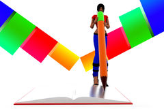 3d women writing with pencil book illustration Stock Photography