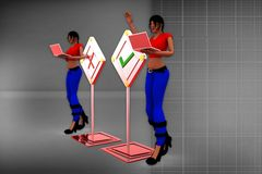 3d women with wrong and tick illustration Stock Image