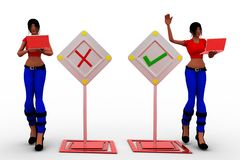 3d women with wrong and tick illustration Royalty Free Stock Photography