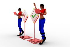 3d women with wrong and tick illustration Stock Images