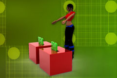 3d women yes or no illustration Stock Image