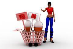 3d Women Yes Or No Royalty Free Stock Images