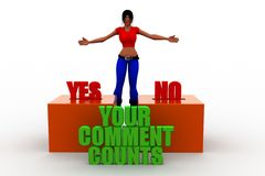 3d women with Your Comment Counts words concept Royalty Free Stock Photos