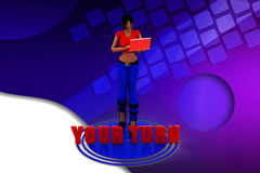 3d women your turn illustration Stock Photo