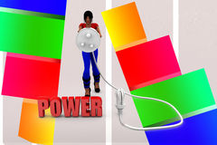 3d womer power plug into cfl light illustration Stock Photography