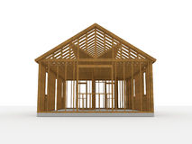 3D wood construction house Stock Images