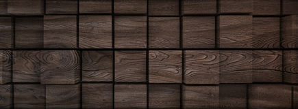 3d wood cubes displaced background banner. 3d render Royalty Free Stock Photography
