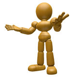 3D Wood Doll Mascot is doing not to know gestures. 3D Wooden Bal Stock Photography