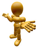 3D Wood Doll Mascot is doing not to know gestures. 3D Wooden Bal Royalty Free Stock Photos