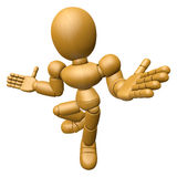 3D Wood Doll Mascot is doing not to understand gestures. 3D Wood Royalty Free Stock Photos
