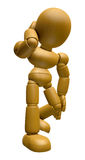 3D Wood Doll Mascot is Fall with a Bump. 3D Wooden Ball Jointed Royalty Free Stock Image