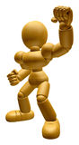 3D Wood Doll Mascot is fighting gestures. 3D Wooden Ball Jointed Royalty Free Stock Images