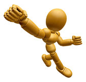 3D Wood Doll Mascot is fighting gestures. 3D Wooden Ball Jointed Royalty Free Stock Photo