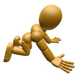 3D Wood Doll Mascot flop on one's knees. 3D Wooden Ball Jointed Stock Image