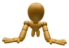 3D Wood Doll Mascot flop on one's knees. 3D Wooden Ball Jointed Royalty Free Stock Image