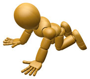 3D Wood Doll Mascot flop on one's knees. 3D Wooden Ball Jointed Royalty Free Stock Photos