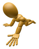 3D Wood Doll Mascot flop on one's knees. 3D Wooden Ball Jointed Royalty Free Stock Photography