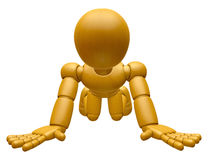 3D Wood Doll Mascot flop on one's knees Stock Photos