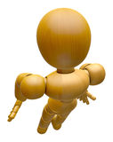 3D Wood Doll Mascot flying to the sky. 3D Wooden Ball Jointed Do Royalty Free Stock Photos