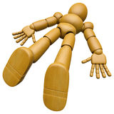 3D Wood Doll Mascot found lying unconscious on the floor. 3D Woo Stock Images