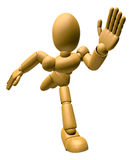 3D Wood Doll Mascot go as fast as one can. 3D Wooden Ball Jointe Stock Images