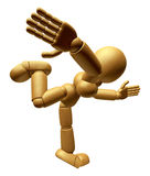 3D Wood Doll Mascot go as fast as one can. 3D Wooden Ball Jointe Royalty Free Stock Image