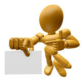 3D Wood Doll Mascot has been directed towards business card. 3D Stock Images