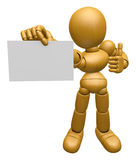 3D Wood Doll Mascot has been directed towards business card.  Stock Images