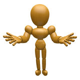 3D Wood Doll Mascot has been directed towards document. 3D Woode Royalty Free Stock Photography