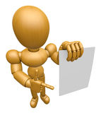 3D Wood Doll Mascot has been directed towards document. 3D Woode Royalty Free Stock Photos