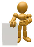 3D Wood Doll Mascot has been directed towards document. 3D Woode Stock Photo