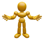 3D Wood Doll Mascot has been directed towards document. 3D Woode Stock Image