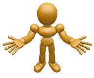 3D Wood Doll Mascot has been directed towards document. 3D Woode Royalty Free Stock Photo