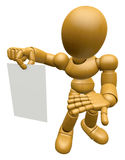 3D Wood Doll Mascot has been directed towards document. 3D Woode Stock Photography