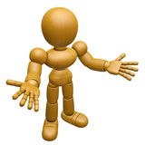 3D Wood Doll Mascot has been directed towards document. 3D Woode Royalty Free Stock Image