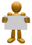 3D Wood Doll Mascot holding a big board with both hands. 3D Wood Stock Images
