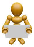 3D Wood Doll Mascot holding a big board with both hands. 3D Wood Stock Photography