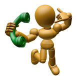 3D Wood Doll Mascot just calls me back when you have more time. Royalty Free Stock Photo