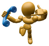 3D Wood Doll Mascot just calls me back when you have more time. Royalty Free Stock Images