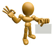3D Wood Doll Mascot the left hand OK gesture  Stock Image
